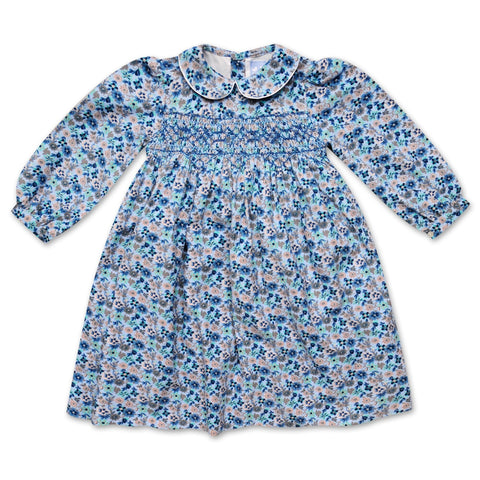 GRACE PALE BLUE FLORAL CORDUROY SMOCK DRESS