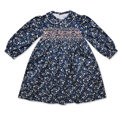 GRACE NAVY AND PINK LIBERTY PRINT SMOCK DRESS