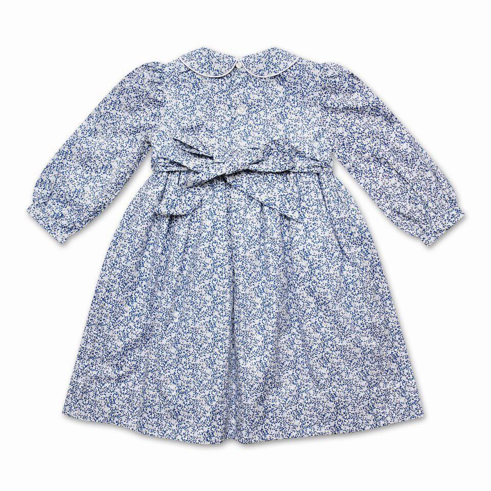 GRACE NAVY AND PALE BLUE FLORAL SMOCK DRESS