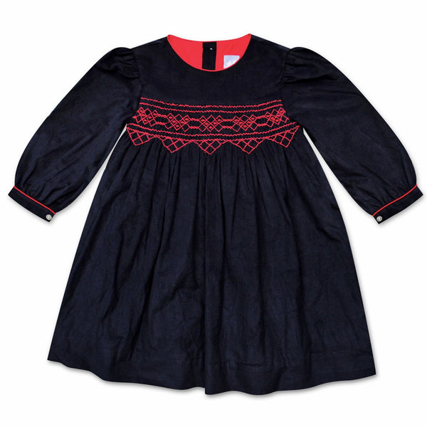 GRACE NAVY CORDUROY SMOCK DRESS