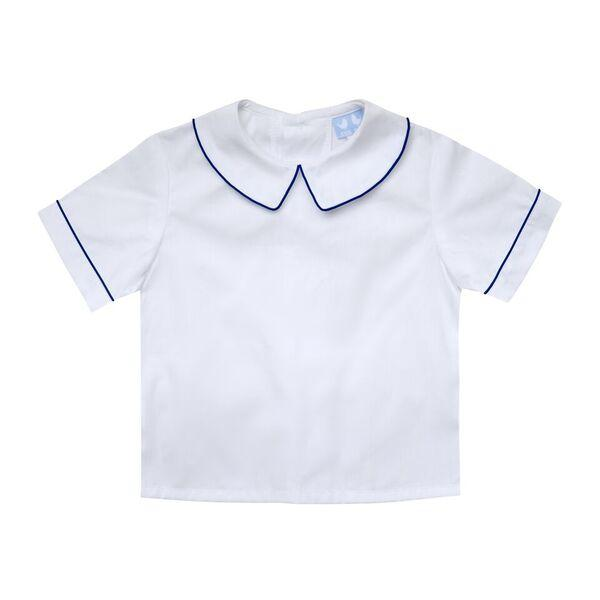 BOYS WHITE COLLARED SHIRT WITH NAVY TRIM