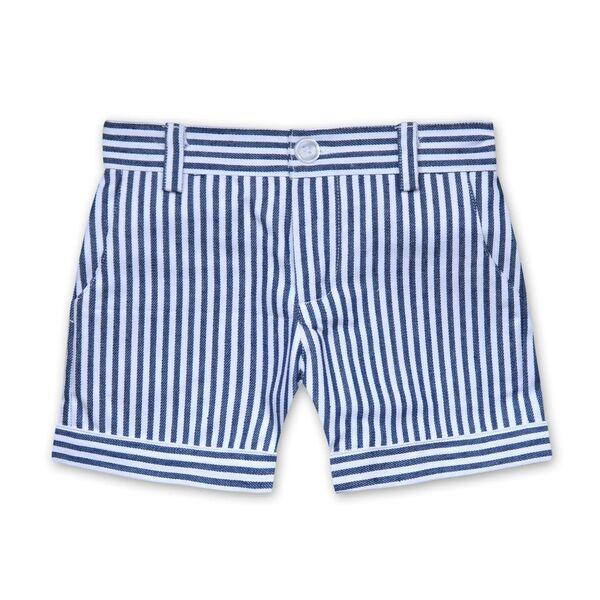 DENIM STRIPE SHORTS IN NAVY AND WHITE