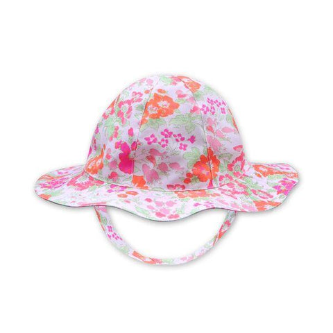 FLORRIE HAT IN ORANGE AND PINK FLORAL