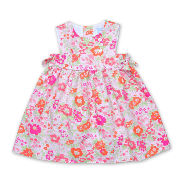 FLORRIE ORANGE AND PINK FLORAL BOW DRESS