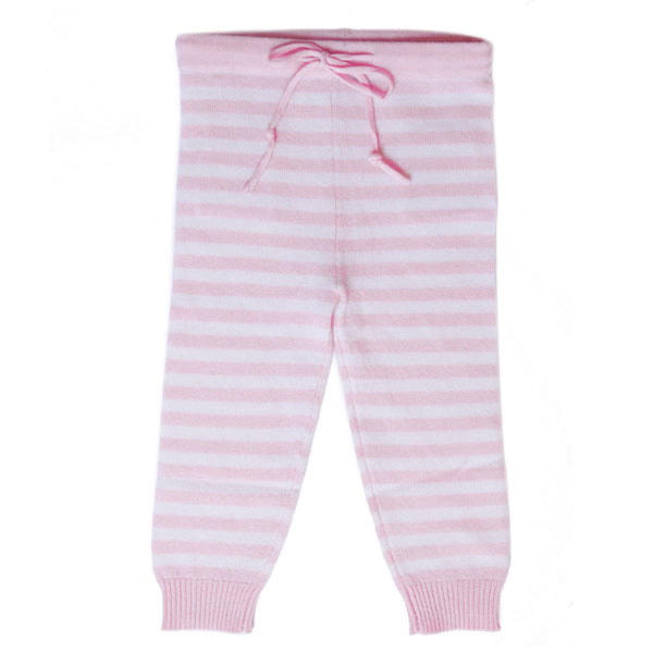 CASHMERE STRIPE PANTS IN PINK AND WHITE