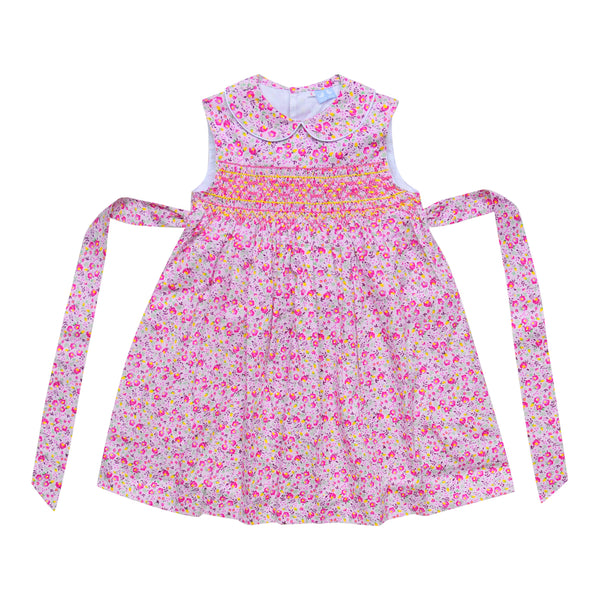 BELLA PINK AND YELLOW FLORAL SMOCK DRESS