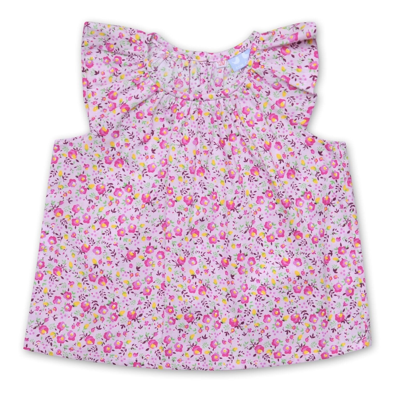 FLORRIE TUNIC TOP WITH FRILL SLEEVES IN PINK FLORAL