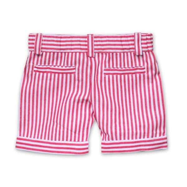 DENIM STRIPE SHORTS IN RED AND WHITE