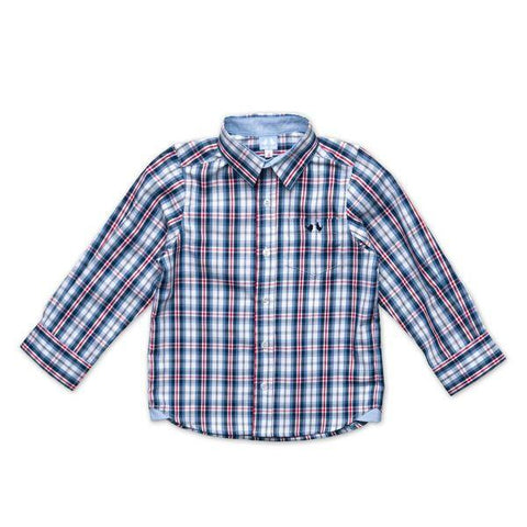 RED AND BLUE CHECK SHIRT WITH CONTRAST CUFF