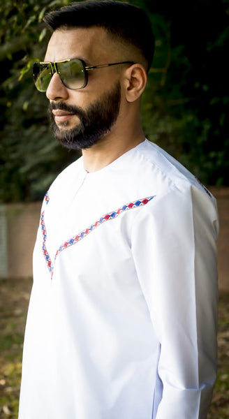 White Ahsan Omani With Stripe