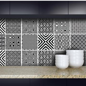 African Mix - Black vinyl wall tiles