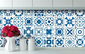 Delft - Blue vinyl wall tiles