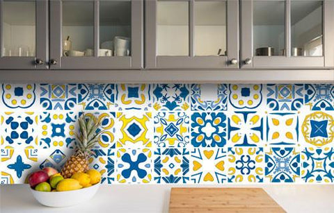 Delft - Blue & Yellow vinyl wall tiles