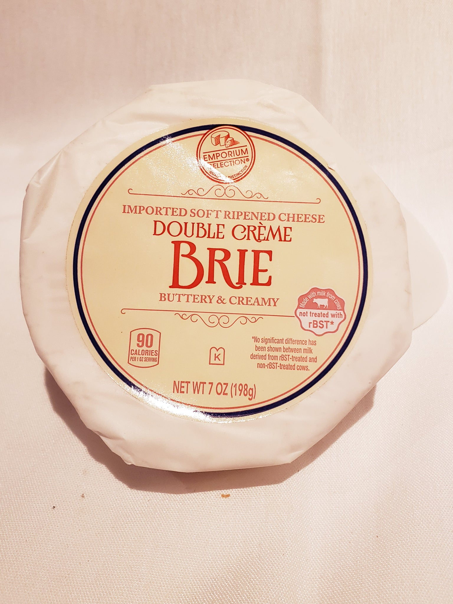 Cheese, Brie, Double Cream, rBST Antibiotic and Hormone Free, Rennet Free (8oz)