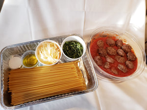 Family Style Linguini & Meatballs - Feeds 4 People (Cold Ready to Cook & Serve)