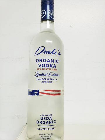 Vodka, Drake, Gluten Free, Organic, 12x Distilled, USA