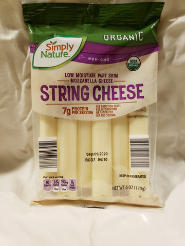 Cheese, Mozzarella, String Cheese Organic, Non-GMO  (6-1oz Sticks)