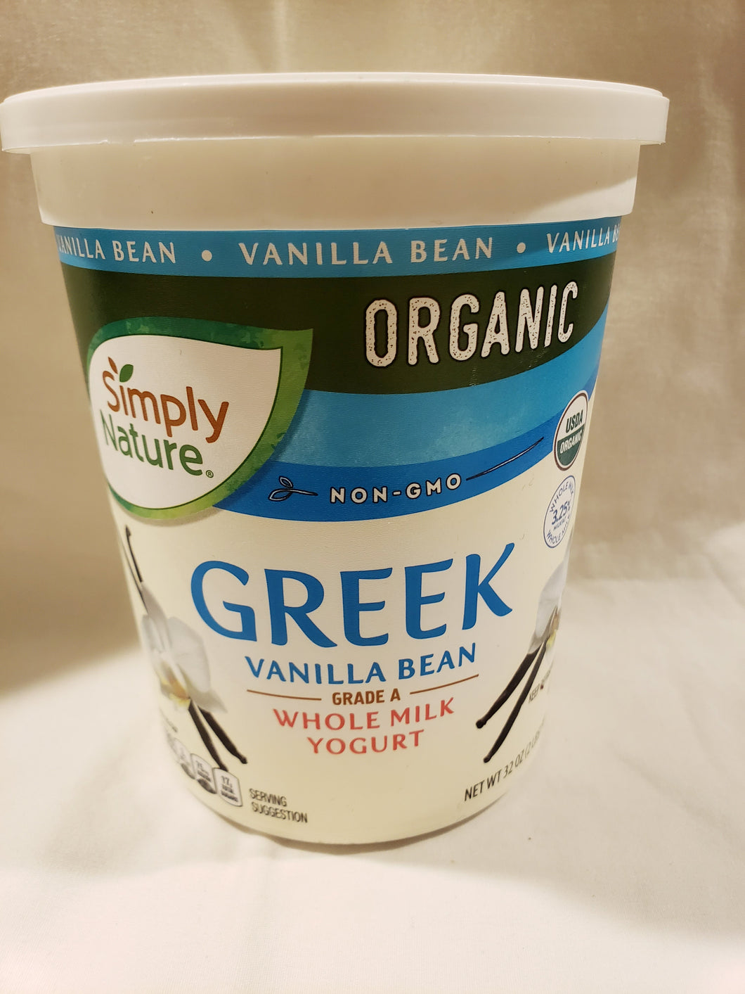Dairy, Yogurt, Vanilla Bean,  Organic, Whole Milk, Non-GMO (32oz)