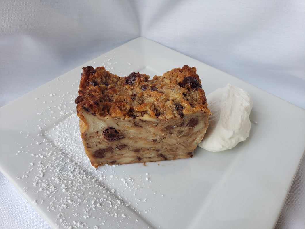 Dessert, Banana Chocolate Bread Pudding,1 LARGE SLICE w/Whipped Cream, House Made,  (Hot)