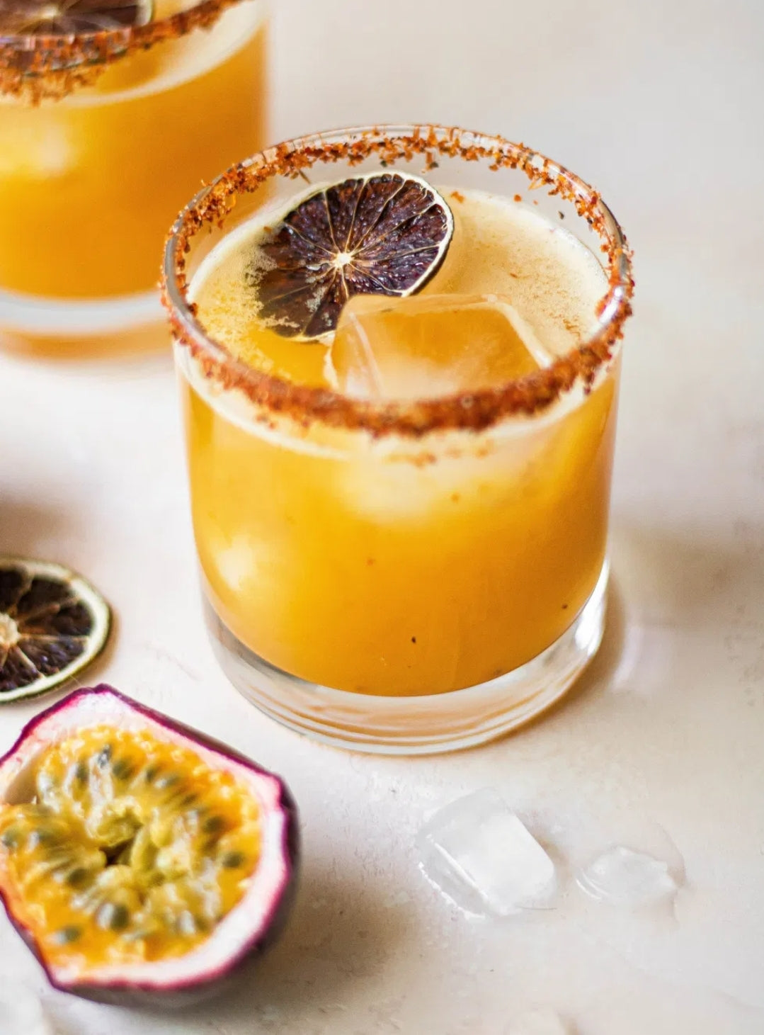 Passion Fruit Margarita with Cayenne Sugar