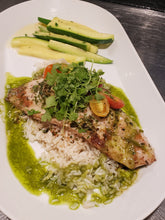 Load image into Gallery viewer, Pan Seared Rockfish, Artichoke Pesto, Roasted Tomatoes, Browned Butter, Basil Oil Entree (Hot)