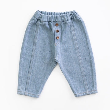 PLAY UP Recycelte Denim-Hosen mit elastischem Bund