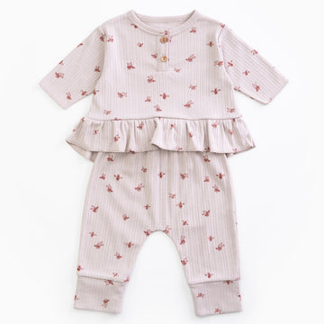 PLAY UP Pyjama-Set gerippt mit Volants Organic Cotton