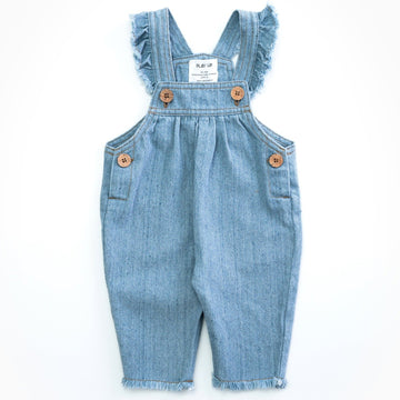 PLAY UP Recycelte Denim-Latzhose mit Volants