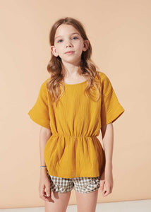Kids on the Moon Bluse Peplum kurzarm Cotton Musselin
