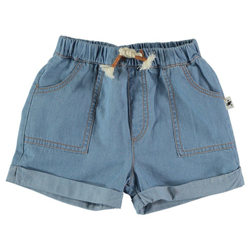 My Little Cozmo Baby Shorts Chambray Oliver Cotton