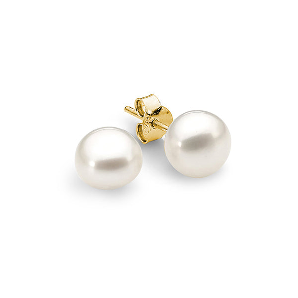 9ct Yellow Gold White 7mm Button Freshwater Pearl Stud Earrings