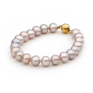 Pink Near Round 8-8.5mm Bracelet 9ct Yellow Gold Clasp 19cm