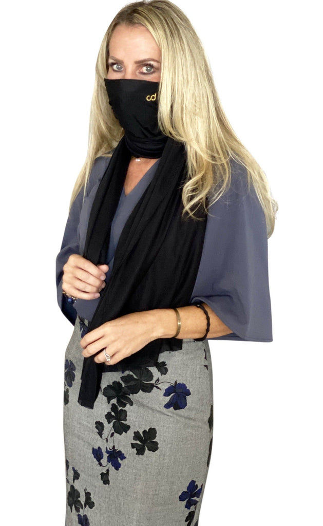 Hydrophobic Antimicrobial Light Weight Black Scarf with built in 5 layer Antimicrobial Filtration system - Chiki Diki