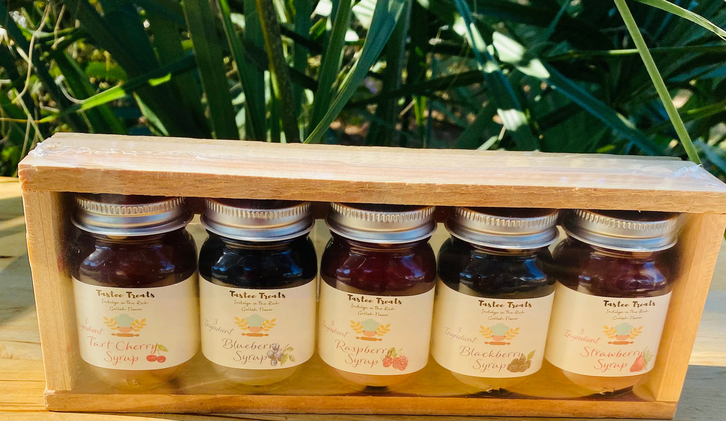 Delicious Mini-Handmade Assorted Syrups Collection-(Tart Cherry, Blueberry, Blackberry, Strawberry and Raspberry Flavors)