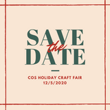 Save the date graphic for the College of the Siskiyous (COS) Holiday Market on 12/5/2020. Green and red text on a beige background.