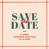 Save the date graphic for the Fort Jones Holiday Market on 12/12/2020. Green and red text on a beige background.