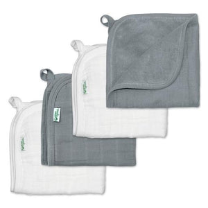 New Greensprouts Muslin Washcloth Set Gray