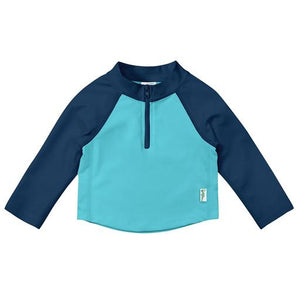 New I Play Rashguard Top Long Sleeve Zip Navy Aqua