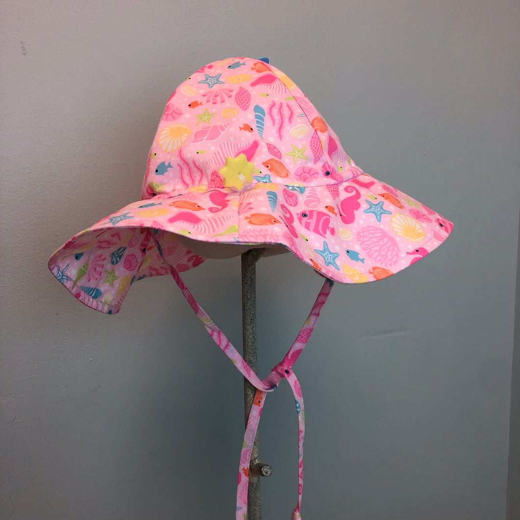 New I Play Girls Sun Protection Hat Pink Sea Life