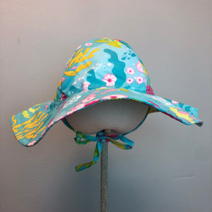 New I Play Girls Sun Protection Hat Aqua Coral Reef
