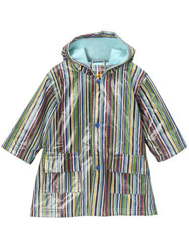 NEW Pluie Pluie Raincoat Blue Stripe Fleece Lined