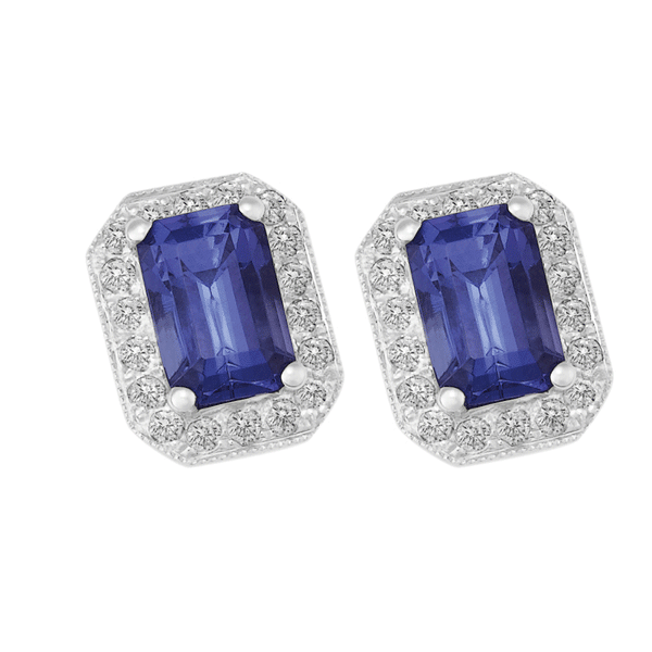 18ct Gold Emerald Tanzanite Earring