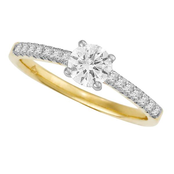18ct Yellow Gold 4 Claw Round Brilliant-cut Diamond Ring with Round Brilliant-cut Shoulders