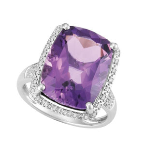 9ct White Gold Cushion Amethyst and  Round Brilliant-cut Diamond Ring