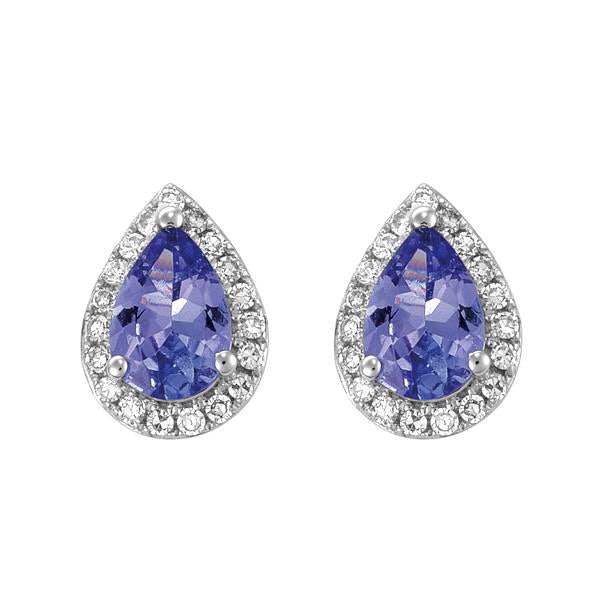 9ct White Gold Pear Tanzanite and Round Brilliant-cut Diamond Earrings