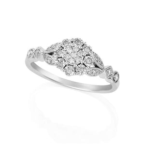9ct White Gold Round Brilliant-cut Diamond Flower Cluster Ring with Milgrain