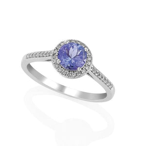 9ct White Gold Round Tanzanite and Round Brilliant-cut Diamond Ring