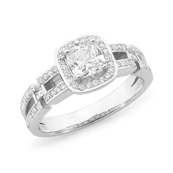 MMJ - Diamond Shoulder Stone Engagement Ring