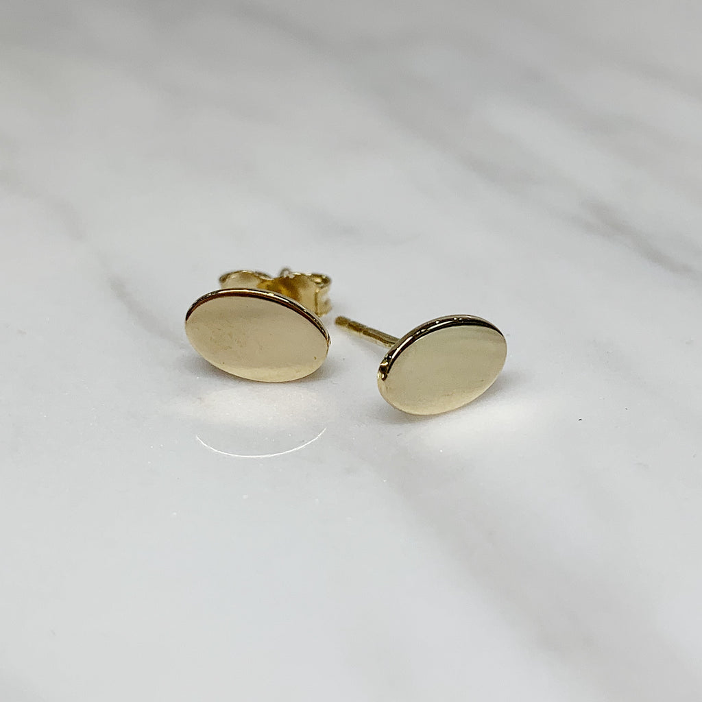 Gold Oval Studs