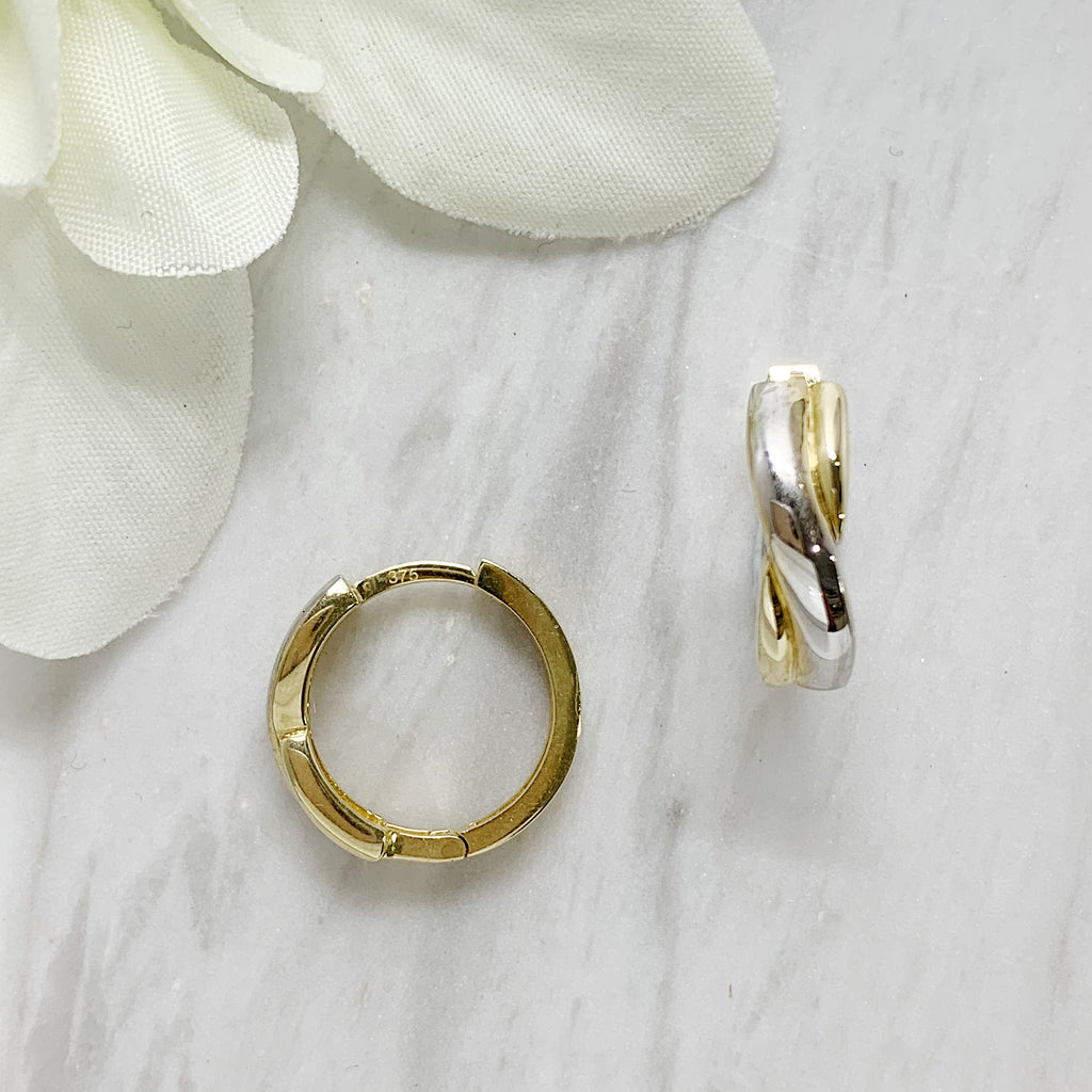 2Tone Gold Huggie Earrings